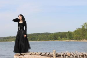 Goth Girl on the seaside by MysteriaViolentStock