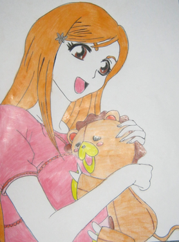 Orihime and Kon by littlesisterrapture
