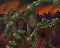 Lizardmen Attack Wallpaper by umbrafox