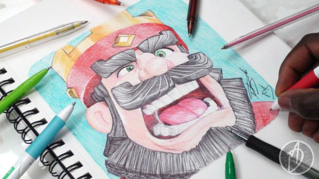 Clash Royale Ballpoint Pen Drawing - DeMoose Art by demoose21