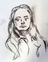 Charcoal study hair and face by N647