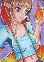 ACEO #177 - Fire Play by Elythe