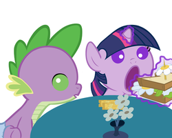 Baby Twilight and Spike Go Out For Lunch by Beavernator