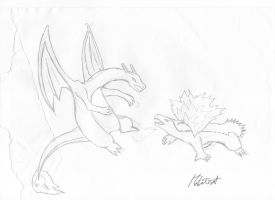 Drawing Charizard vs Typhlosion by M by MarioTheArtistM