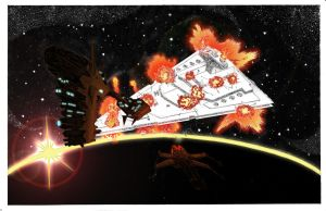Alderaan blows Star Destroyer by AltugBulca