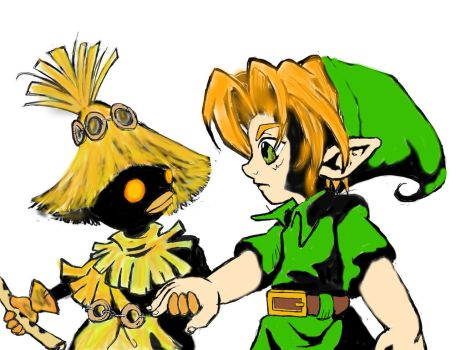 Link and skull kid by ReaTurd