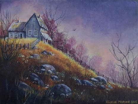 House on the Hill - acrylic painting by Giselle-M