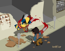Zombie Wolverine vs Ash by theSwitt