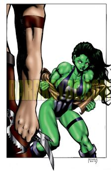SHE-HULK GETS READY TO ROCK by Dwid
