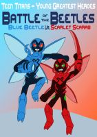Blue Beetle vs. Scarlet Scarab by MCsaurus