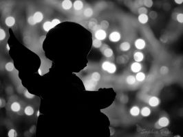 Chrismas Angel Silhouette BW by BttrflyKisses