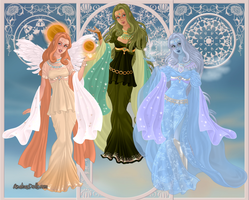 GoddessMaker: Titanesses-  Eos, Dione and Aura by Saphari