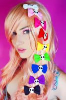 Multi-colored skull hair bow by Rachybby