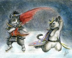 Figure skating samurai cats by Doubleapple