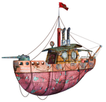 Steampunk Flying Tug Boat 01 PNG Stock by Roys-Art