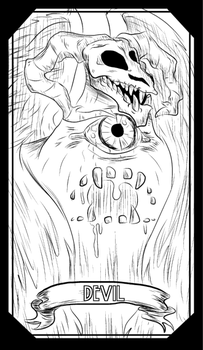DEVIL--Tarot Major Arcana--Uncolored by christhedillow