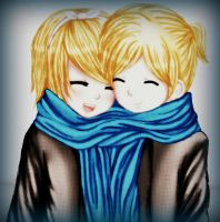 Rin and Len Winter time by Nellers500
