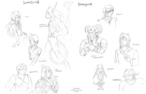 Democration Character Sketches by Mytherea