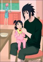 SasuSaku and Hanako. Morning at the Uchiha. by byBlackRose