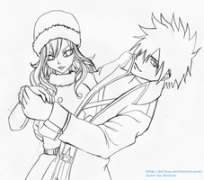 Gray x Juvia #6 (waiting for color ^ ^) by Juviaaa