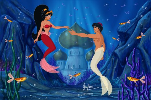 ALADDIN AND JAZMINE UNDER THE SEA by FERNL