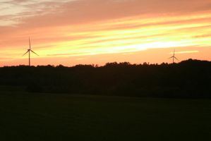 sunset at the windfarm by AndujarA