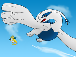 Lugia And Dragonite Color by Quantum-Art