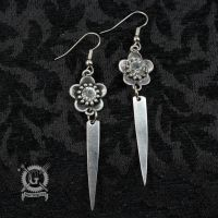 Silver Fork Tine Earrings with Crystal Flowers by Doctor-Gus