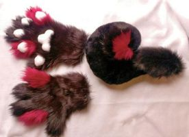 Red and black hand paw tail set for sale! Must go! by SneakyLynx