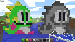 Bub (arcade and Game Boy) in Minecraft by superslinger2007