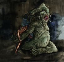 Beowulf vs Grendel by Loneanimator