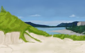 Anime Style Lake Beach Background by wbd