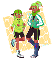 Limegreen Twins - Splatoon OC by WualdhO