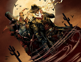 Wild West Spawn + Ghost Rider by HaphazardMachine