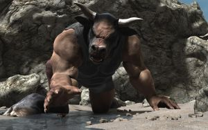 A giant minotaur on the beach by Spino2006
