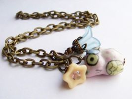 Pink and Blue Charm Necklace by ms-pen