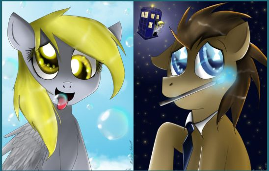 [MLP] Derpy and Doctor. by MonotoneInkwell