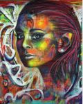 Spray paint portrait on brick wall by Airgone