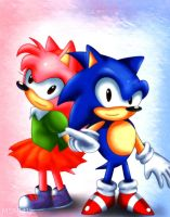 Classic Sonic and Rosy ~ by MSN1412