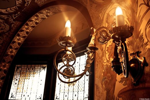 Stained Glass and a Wall Light by kmkessick