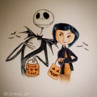 Jack Skellington and Coraline Halloween drawing by Danikas-Art26