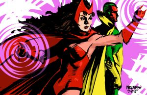 The Scarlet Witch and the Vision by superheroartist