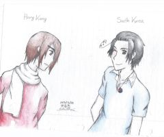Hetalia: Hong Kong and Korea by PinkSea13