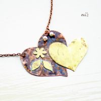 Copper Brass Heart Pendant by IoannaEvans
