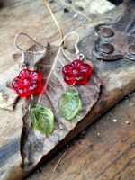 Flower and Leaf Earrings by FaerieForgeDesign