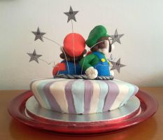 Super Mario Bros. cake - back side by Efreet-in-the-Oven