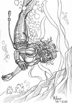 Scuba diver sketch by RedShoulder