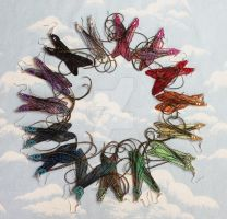 A Rainbow of Dragonfly Earrings by glittrrgrrl