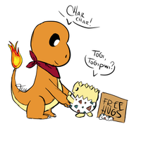 Togepi and Charmander by Tollador