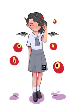 our school uniform and plus some floating eyeballs by owlivi